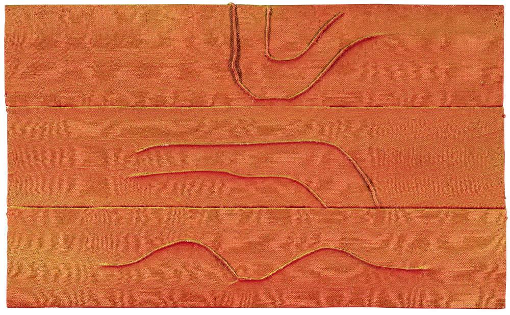 Tsuyoshi Maekawa, UNTITLED, 1975. Signed and dated 'Tsuyoshi Maekawa '75' (on the reverse). Acrylic on sewn hemp laid on board 21.5 by 35 cm. 8 1/2 by 13 3/4 in.