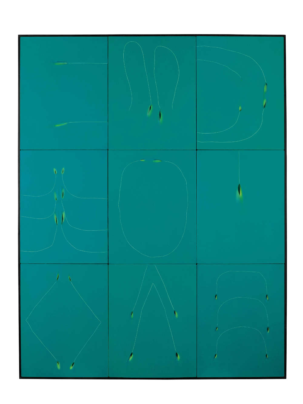 Tsuyoshi Maekawa, UNTITLED, 1975. Signed in Japanese (on a label affixed to the reverse). Acrylic on sewn canvas on plywood in artist's frame 161.5 by 125.5 cm. 63 1/2 by 49 1/2 in.