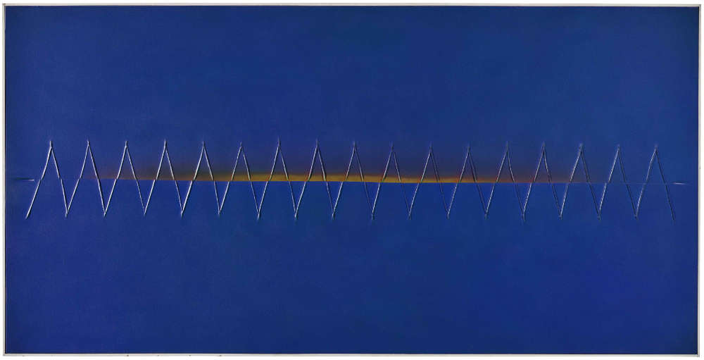 Tsuyoshi Maekawa, UNTITLED, 1977. Signed in Japanese and English and dated 'Tsuyoshi Maekawa '77' (on the reverse). Acrylic on sewn canvas on panel, in artist's frame 93.7 by 185 cm. 36 7⁄8 by 72 7⁄8 in.
