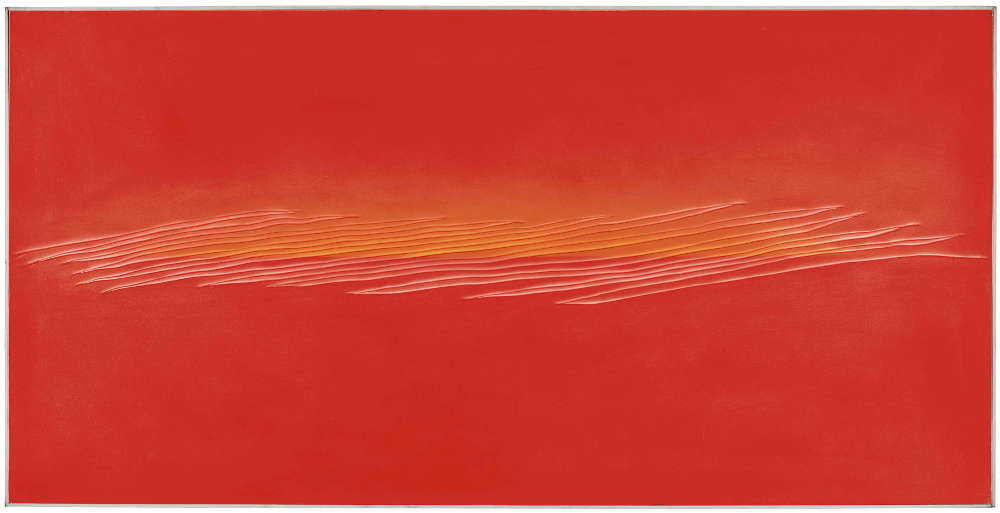 Tsuyoshi Maekawa, UNTITLED, 1977. Signed in Japanese (on the reverse). Acrylic on sewn canvas on panel, in artist's frame 93.7 by 185 cm. 36 7/8 by 72 7/8 in.