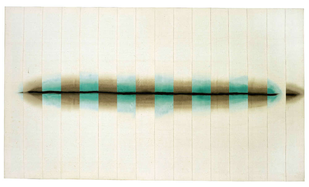 Tsuyoshi Maekawa, UNTITLED, 1978. Signed and dated 'Tsuyoshi Maekawa '78' (on the overturn edge). Acrylic and coal-tarpitch on sewn cotton cloth 92 by 160 cm. 36 1/2 by 62 1/4 in.