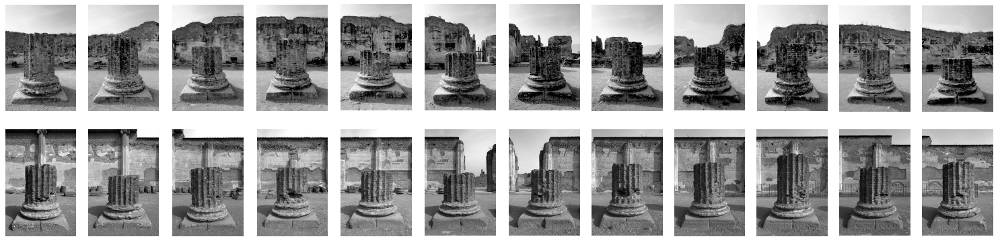 Victor BURGIN (1941 - ), Basilica I, 2006. 24 black and white photographs in superposed horizontal rows of 12, and one text. Each image: 12 x 8 cm. Each frame: 30 x 20 cm. Overall dimensions: 66 x 332 cm. Copyright the Artist. Courtesy of Richard Saltoun Gallery
