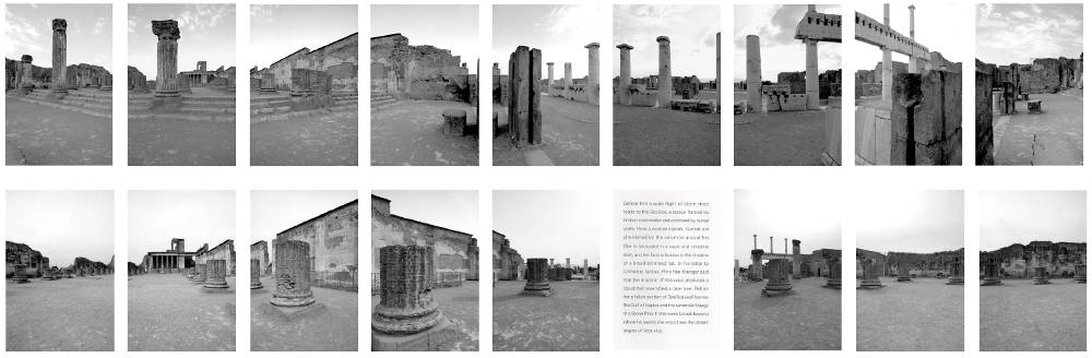 Victor BURGIN (1941 - ), Basilica II, 2006. 17 black and white photographs in superposed horizontal rows of 9, with one text. Each image: 15 x 10 cm. Each frame: 39 x 26 cm. Overall dimensions: 86 x 298 cm. Copyright the Artist. Courtesy of Richard Saltoun Gallery