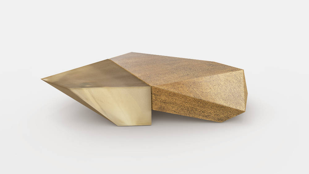 """Apollo, 2018. Limited Edition of 10 pieces + AP. Asymmetric multifaceted coffee table in Alpaca finish and lacewood. Height: 12""""(30 cm) - Width: 65.8""""(167cm) - Depth: 60""""(152cm)"""