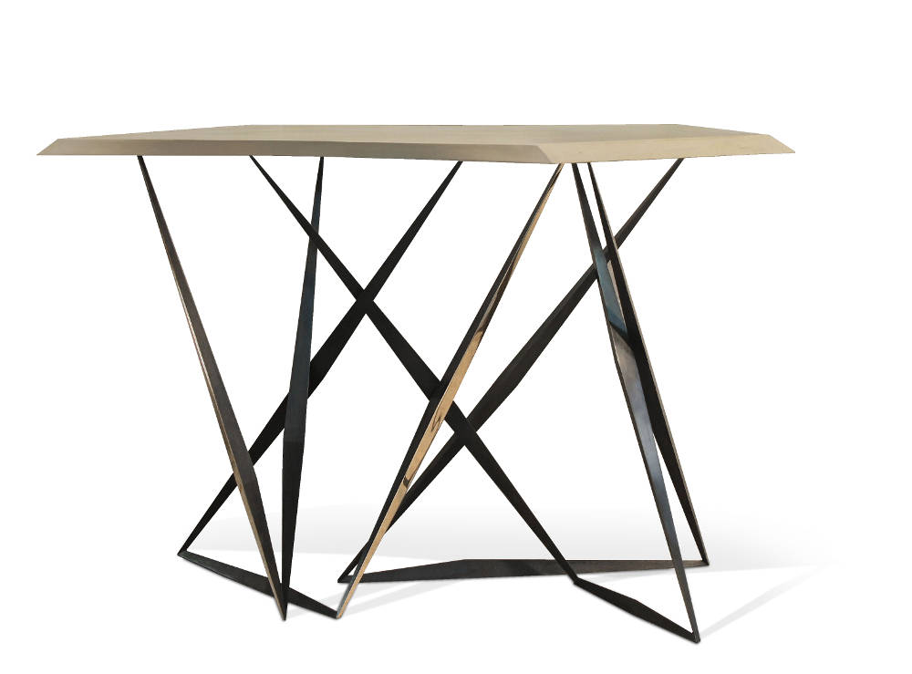 """Tango Parchment, 2015. Limited Edition of 20 pieces. Console with parchment top and cast bronze structure with burnished and polished finish. Height: 32"""" (80cm) - Width: 51"""" (130cm) - Depth: 15.75"""" (40cm)"""