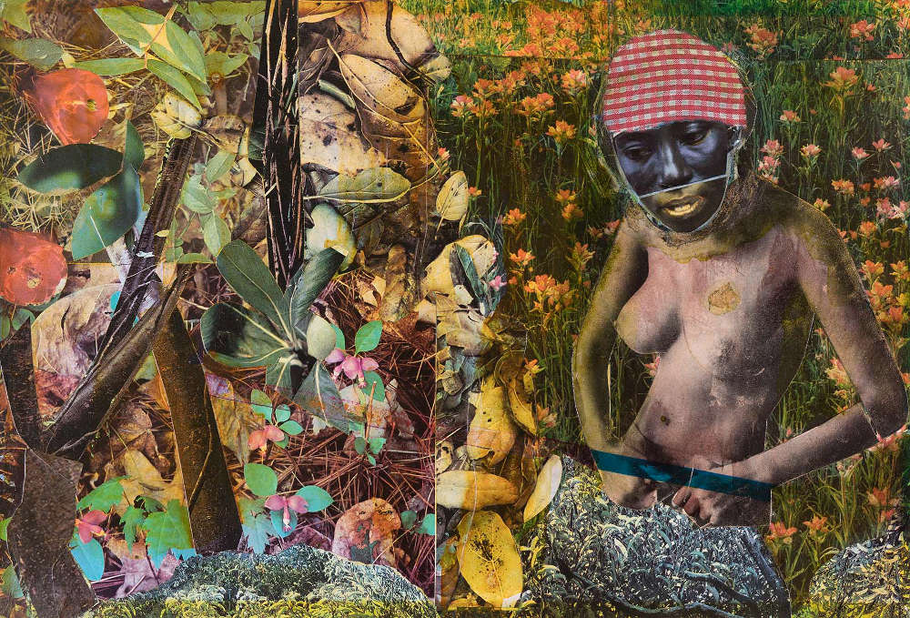 Romare Bearden (1911-1988), Blue Shade, 1972. Mixed media collage of various papers and fabric on Masonite 9 1/2