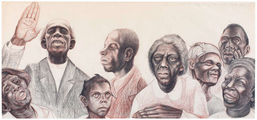 John Biggers (1924-2001), Study for The History of Negro Education in Morris County, Texas, c.1955. Conte crayon on paper 27