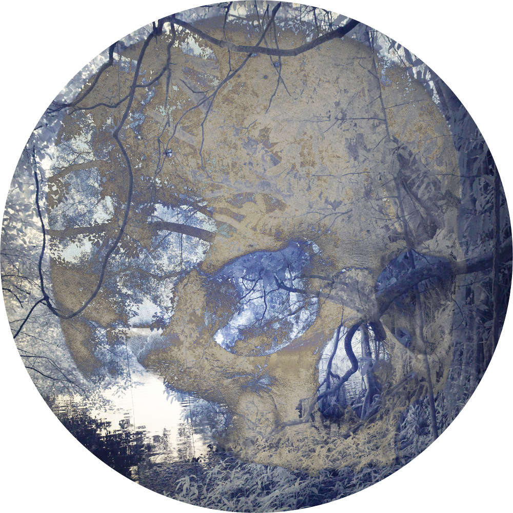 Danie Mellor, A lakeside romance, 2018. Diasec mounted chromogenic print on metallic photographic paper 21 cm diameter, Edition of 3 + 2AP
