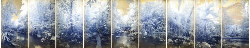 Danie Mellor, Landstory, 2018. Diasec mounted chromogenic print on metallic photographic paper, 9 panels, each 224 x 124 cm. Overall 224 x 1276 cm, edition of 3 + 2AP