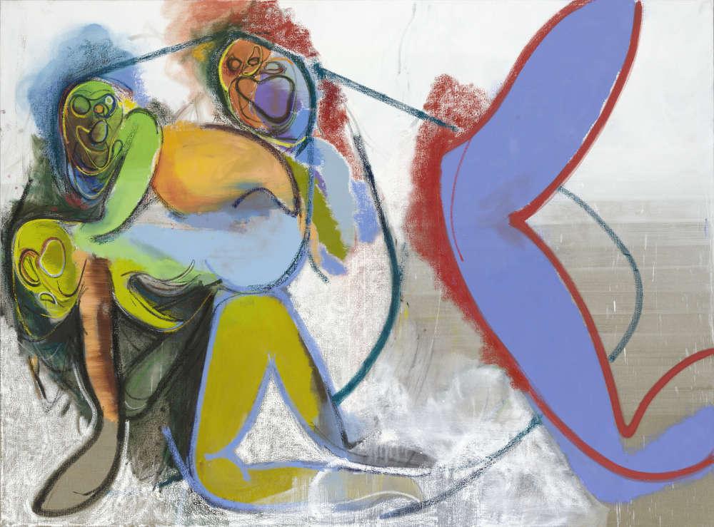 Daniel Richter, Sick music, 2018. Oil on canvas 200 x 270.1 cm (78,74 x 106,34 in) © Daniel Richter/DACS, London 2018. Photo: Jochen Littkemann. Courtesy Galerie Thaddaeus Ropac, London · Paris · Salzburg