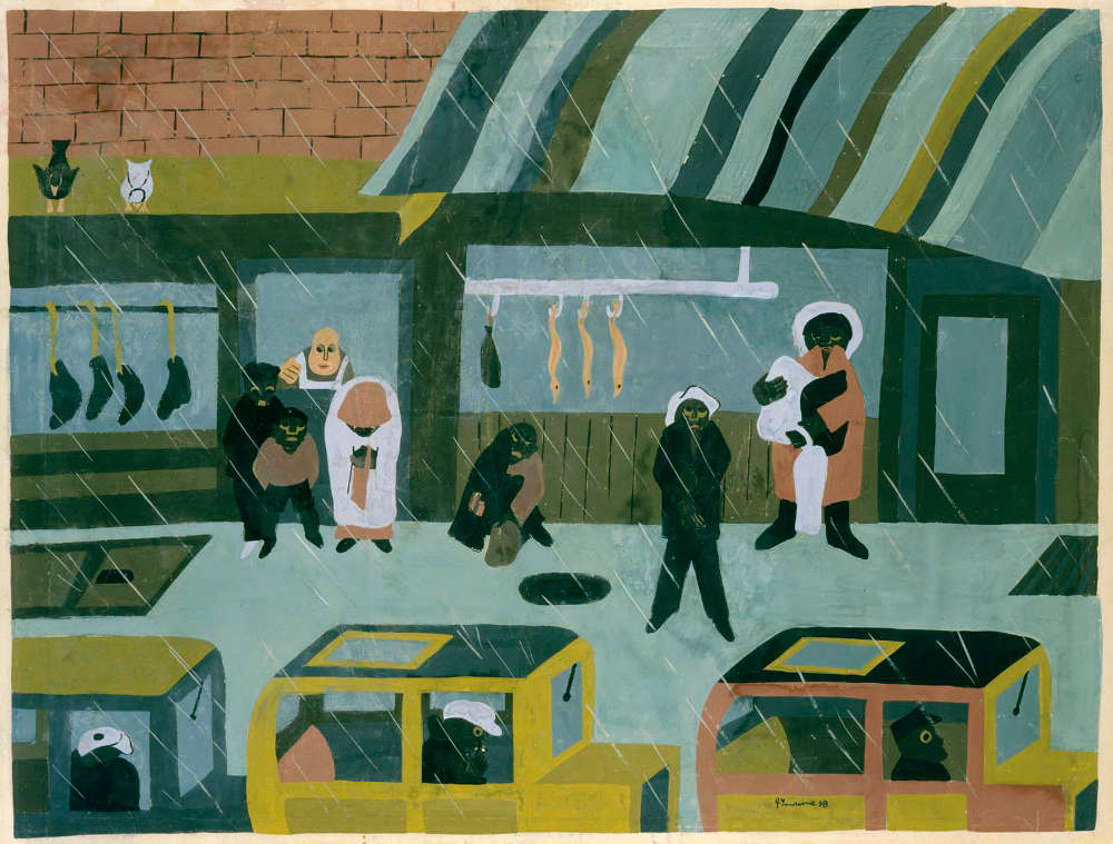 Jacob Lawrence (1917-2000), The Butcher Shop, 1938. Tempera on paper 18 1/2