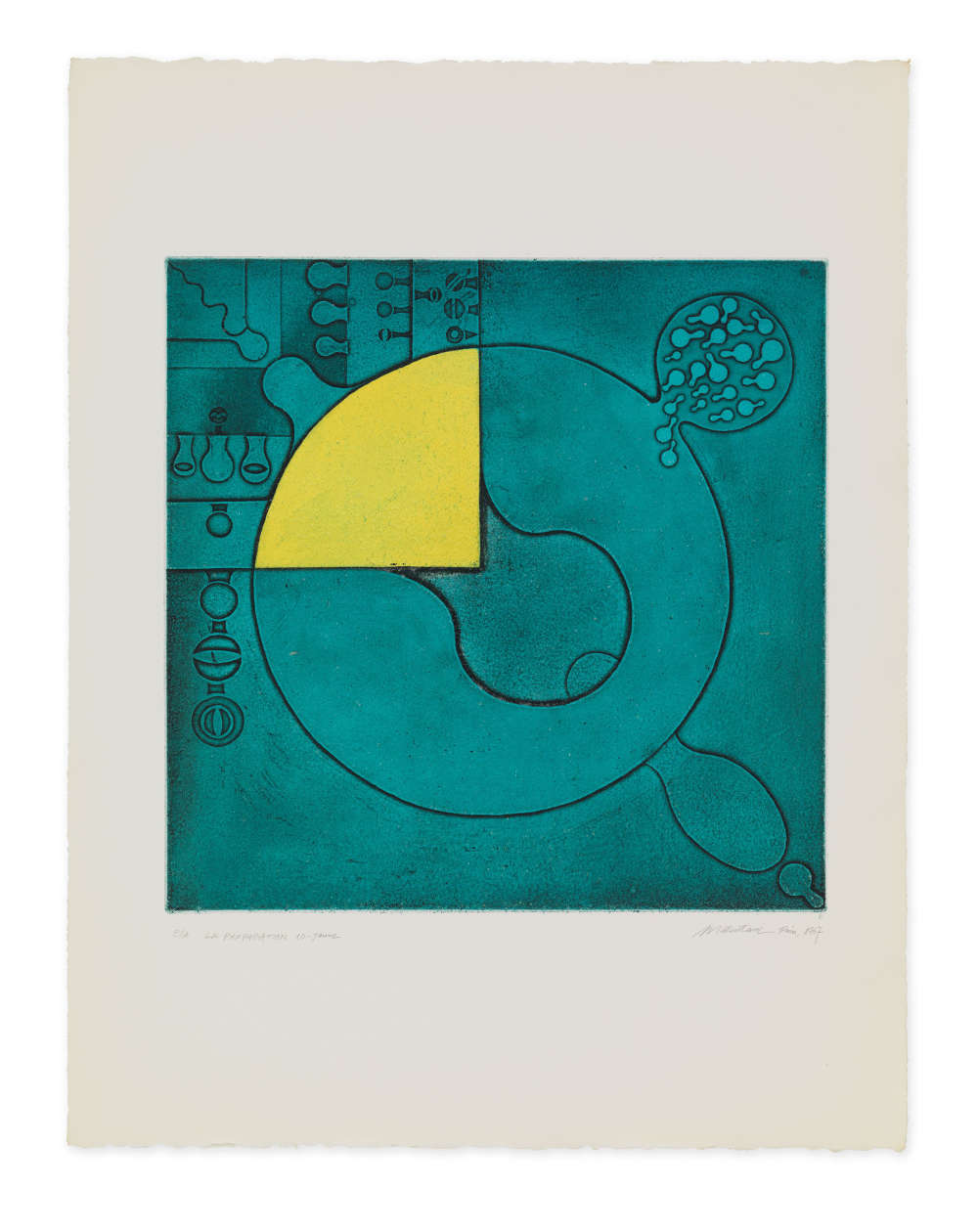 Takesada Matsutani, La Propagation-10-Jaune, 1967. Etching on BFK paper 65 x 50 cm / 25 5/8 x 19 5/8 in © Takesada Matsutani. Courtesy of the artist and Hauser & Wirth
