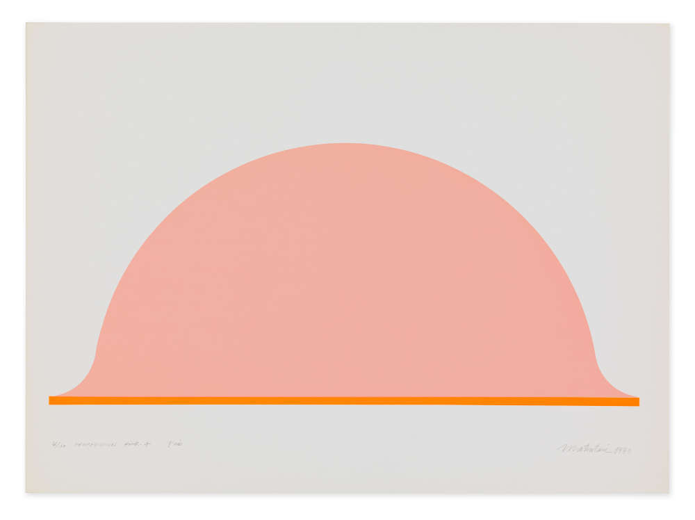 Takesada Matsutani, La Propagation-Pink-A, 1970. Silkscreen on offset paper 56.8 x 78.1 cm / 22 3/8 x 30 3/4 in © Takesada Matsutani. Courtesy of the artist and Hauser & Wirth