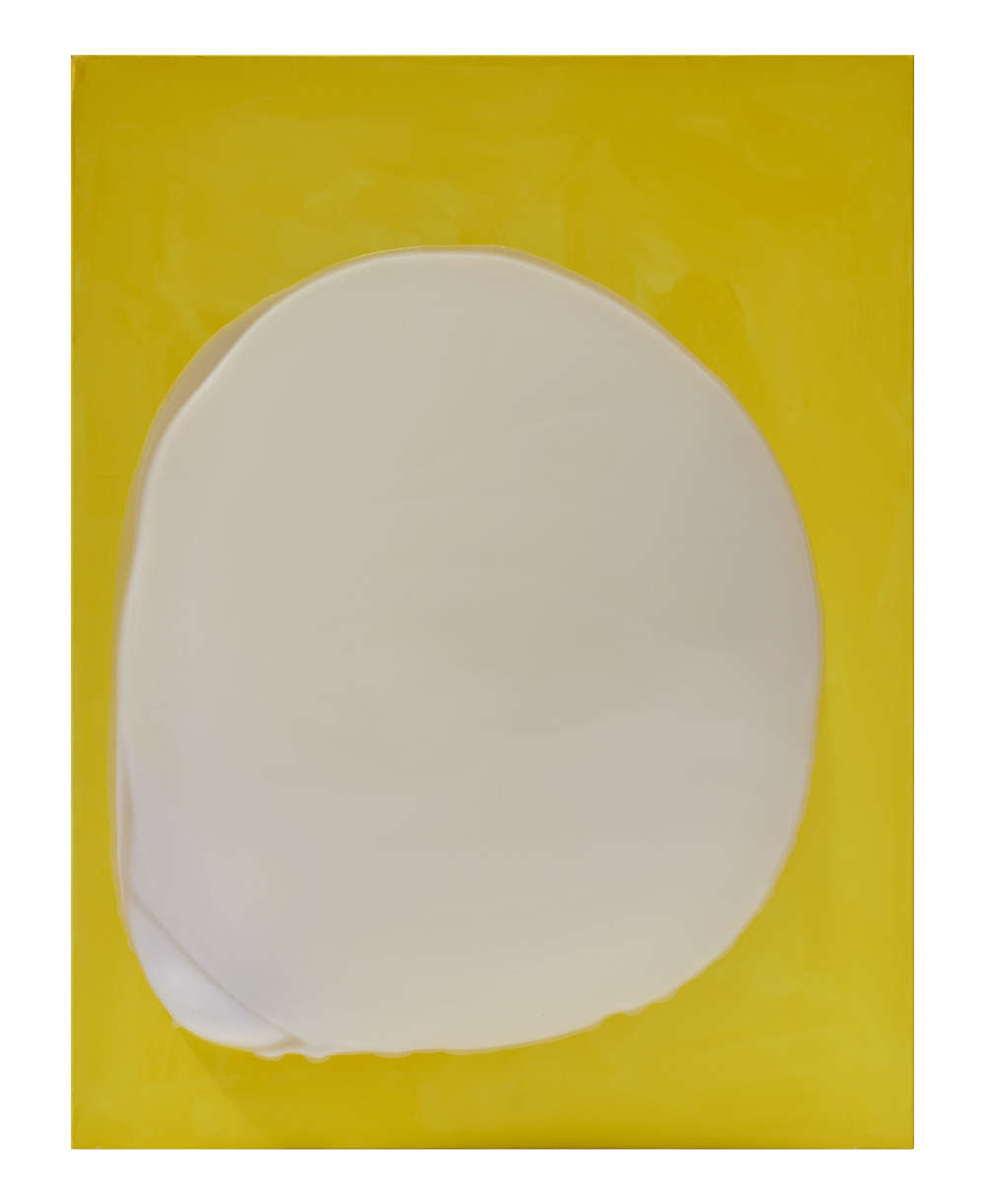 Takesada Matsutani, Object-Yellow, 2018. Vinyl adhesive, acrylic on canvas 116 x 89 x 15 cm / 45 5/8 x 35 x 5 7/8 in © Takesada Matsutani. Courtesy of the artist and Hauser & Wirth