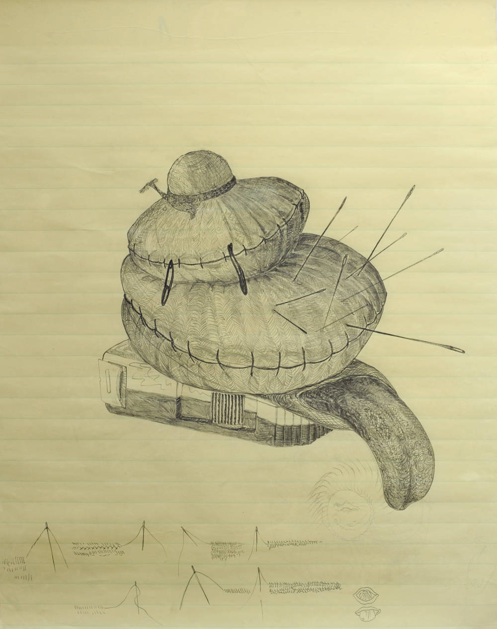 Maria Bussmann, Nadelkissen Zunge / Zeichnung zu Hannah Arendt, 2012. Pencil on paper 30 x 25 in.