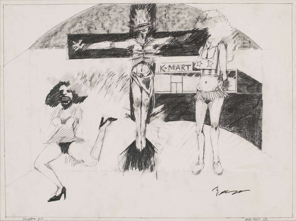 Mike Kelley, Shoppers Fair (Student Drawing), 1974. Pencil on paper 45.7 x 61 cm / 18 x 24 in. Photo: Fredrik Nilsen © Mike Kelley Foundation for the Arts. All Rights Reserved/VAGA at ARS, NY, Courtesy the Foundation and Hauser & Wirth.