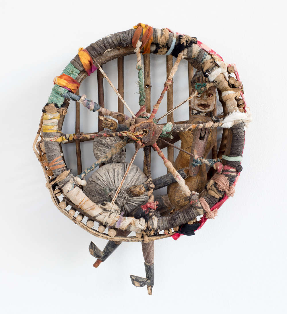 John Outterbridge (b.1933), Caged, 2008. Mixed media assemblage of wood, paint, fabric and metal 15