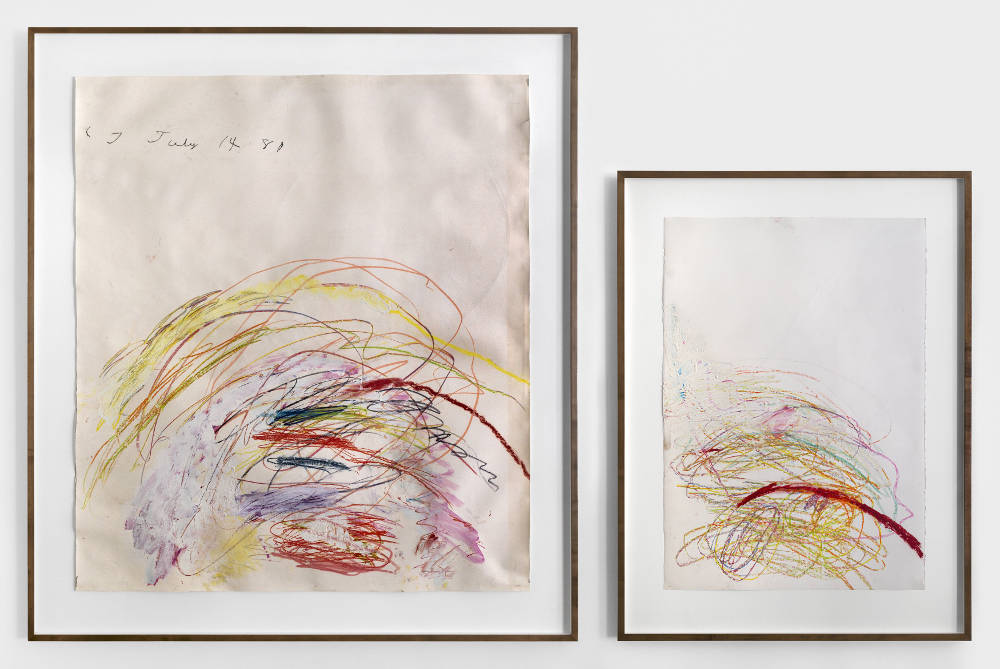Cy Twombly, Untitled, 1981-82. Initialled and dated upper left on recto in pencil: 'CT July 14 81'. Oil paint, wax crayon and pencil on paper, 2 sheets. I: 150.5 x 133.5 cm (59 1/4 x 52 9/16 in.) II: 100 x 70 cm (39 3/8 x 27 9/16 in.) Courtesy of Simon Lee Gallery.