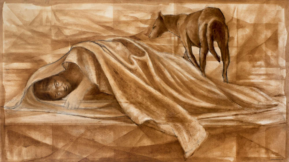 Charles White (1918-1979), Guardian, c.1968-69. Oil and charcoal on illustration board 27 1/4