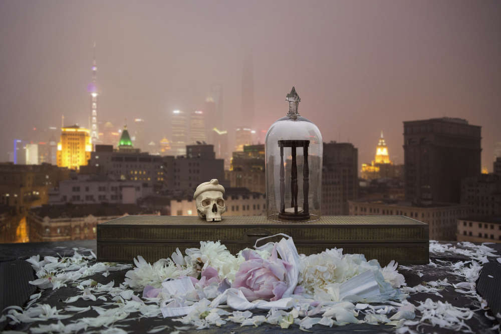 Anne de Carbuccia (b. New York, 1968), Pollution Shrine. View of Pudong, The Bund, Shanghai, Pollution level 168, May 2014. Photography Ed. 1/5 69 x 102.5 cm 27 1/8 x 40 3/8 in