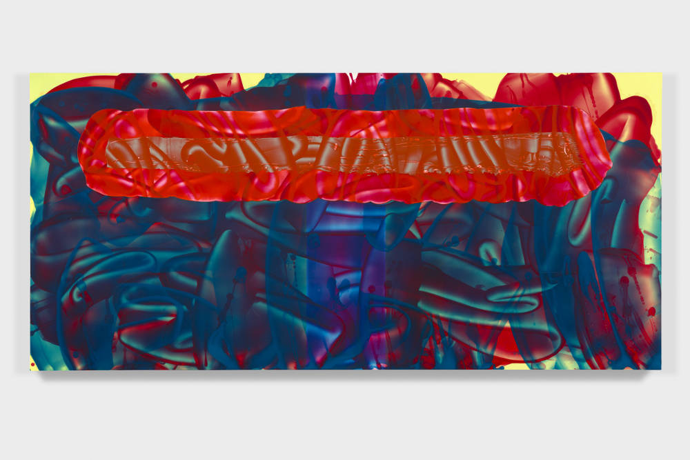 David Reed, #697, 2015-2018. Oil, alkyd, and acrylic on polyester 76.2 x 153.67 cm / 30 x 60 1/2 inches. Courtesy the artist and Häusler Contemporary München, Zürich