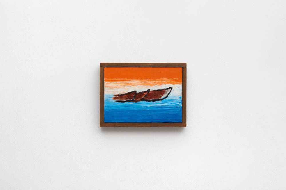 Forrest Bess, Old Boats, 1967, oil on canvas, 25.4 x 35.6 cm, 10 x 14 ins, courtesy Stuart Shave/Modern Art, London