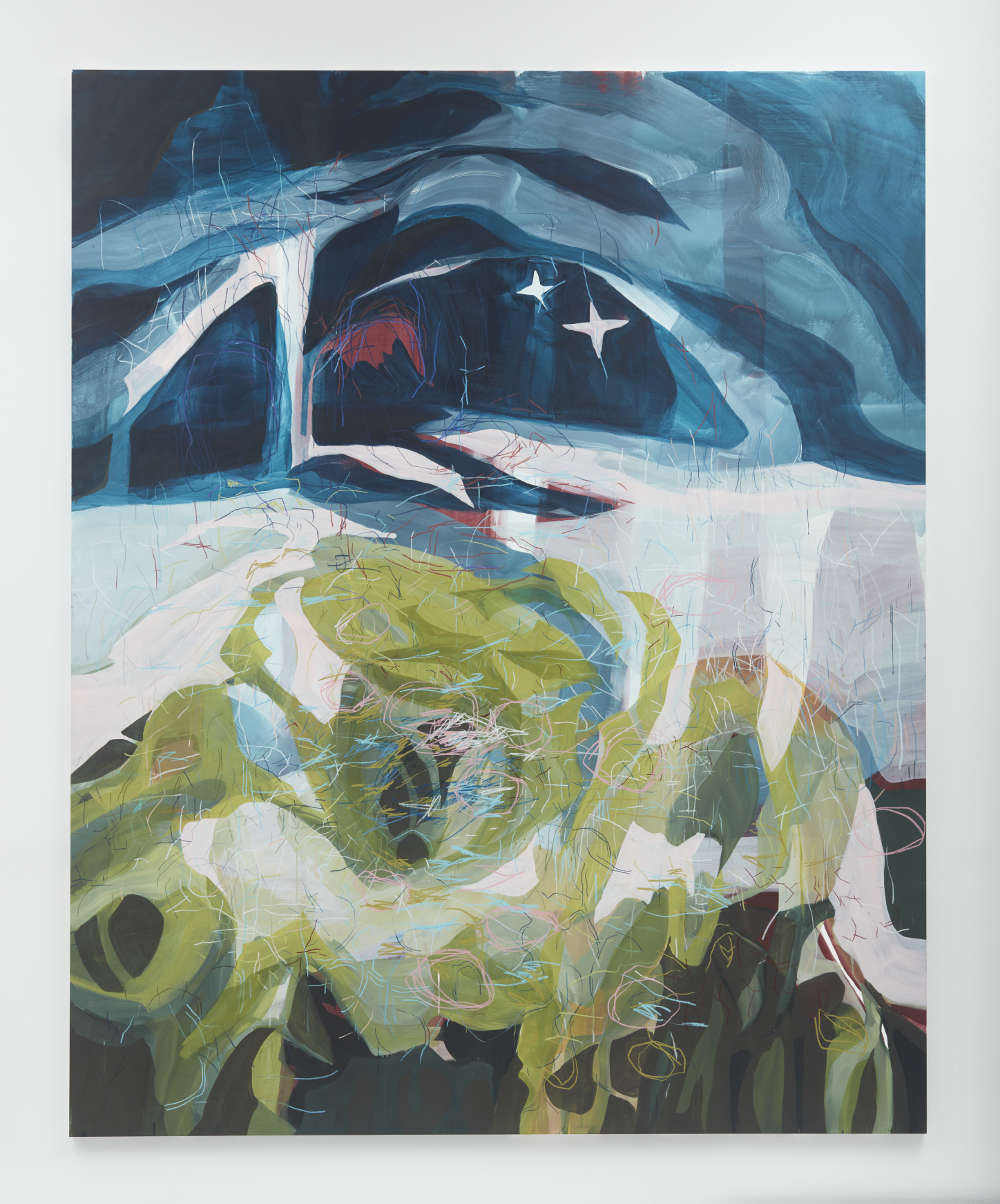 Janaina Tschäpe, Kleine Nachtmusik, 2018. Casein and watercolor pencil on canvas 140 1/4 x 113 inches (356.2 x 287 cm) © Janaina Tschäpe. Photography: Jason Wyche, New York. Courtesy: Sean Kelly, NY