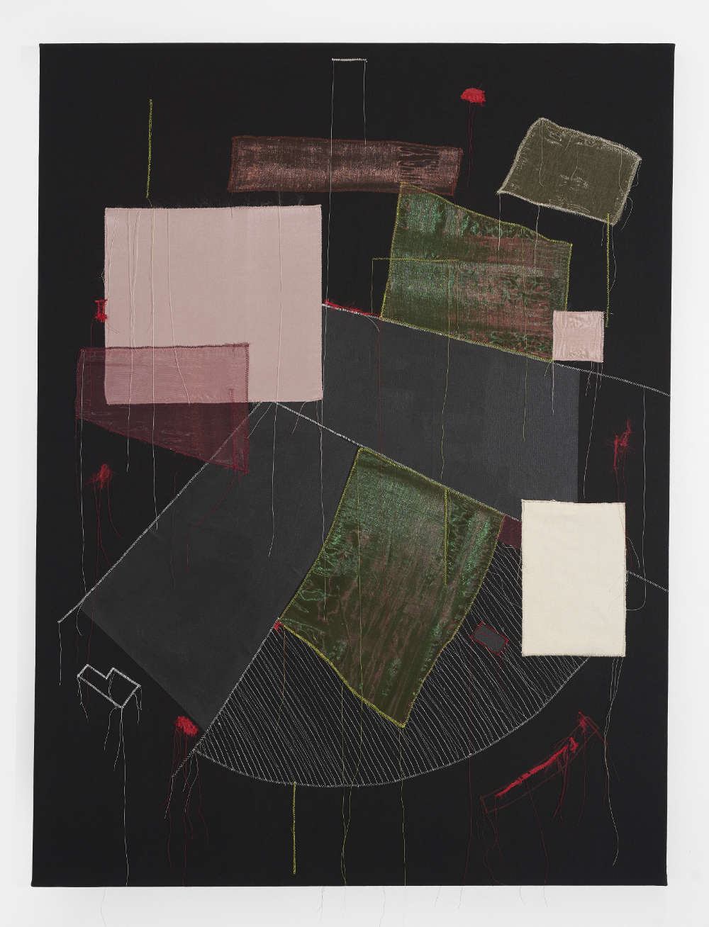 Christine Gedeon, The Villa Rose, 2018. Thread, fabric and paint on black canvas 56 x 42 inches 142.2 x 106.7 cm