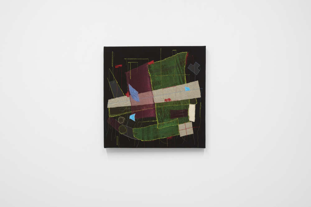 Christine Gedeon, The Fountain at Il Meshtel, 2018. Fabric and paint on black canvas 24 x 24 inches 61 x 61 cm