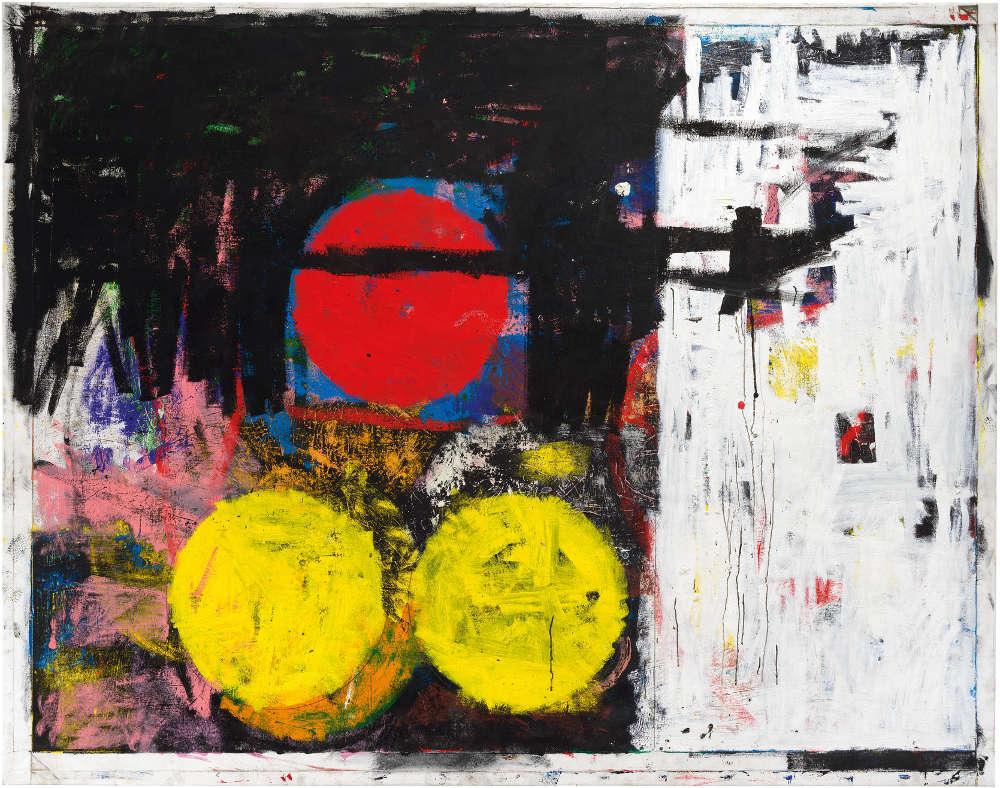 Joe Bradley, Black Peter, 2018. Oil on canvas 83 1/4 x 106 in 211.5 x 269.2 cm © Joe Bradley. Photo: Rob McKeever. Courtesy Gagosian