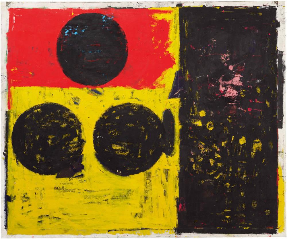Joe Bradley, Vanguard, 2018. Oil on canvas 88 1/4 x 106 1/2 in 224.2 x 270.5 cm © Joe Bradley. Photo: Rob McKeever. Courtesy Gagosian