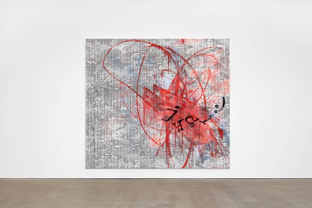 Jacqueline Humphries, jHΩ1:), 2018, oil on linen, 289.6 x 322.6 cm, 114 x 127 ins. Photo: Robert Glowacki. © Jacqueline Humphries. Courtesy Stuart Shave/Modern Art, London