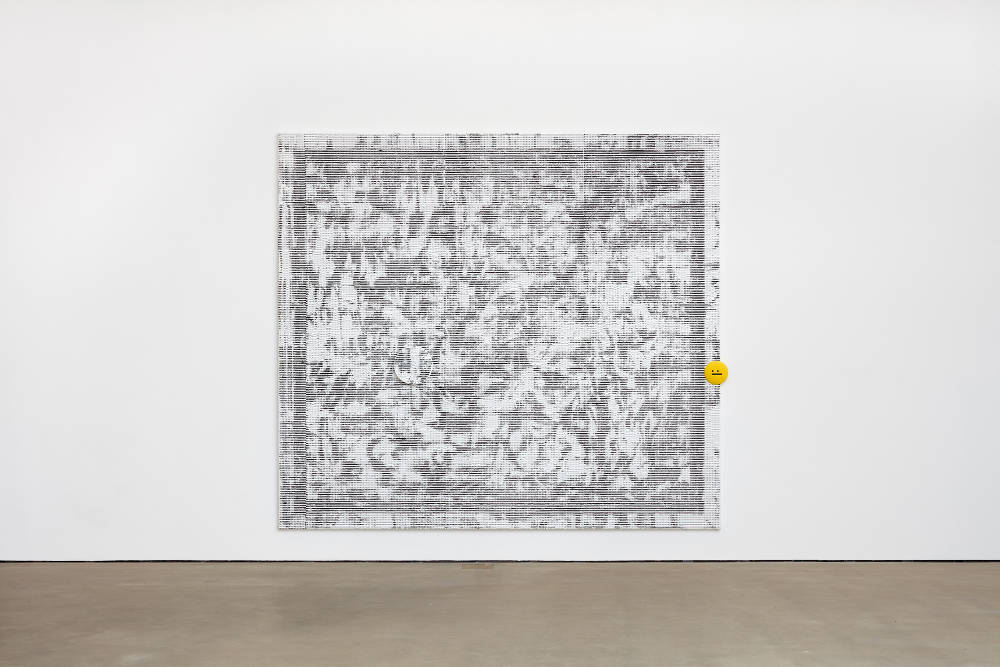 Jacqueline Humphries, sysysy/:|, 2018, oil on linen with Poly-Optic Resin objects, 289.6 x 322.6 cm, 114 x 127 ins. Photo: Robert Glowacki. © Jacqueline Humphries. Courtesy Stuart Shave/Modern Art, London