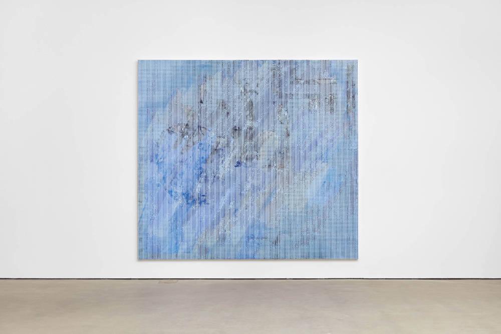 Jacqueline Humphries, .,:;:):|, 2018, oil on linen, 254 x 281.9 cm, 100 x 111 ins. Photo: Robert Glowacki. © Jacqueline Humphries. Courtesy Stuart Shave/Modern Art, London