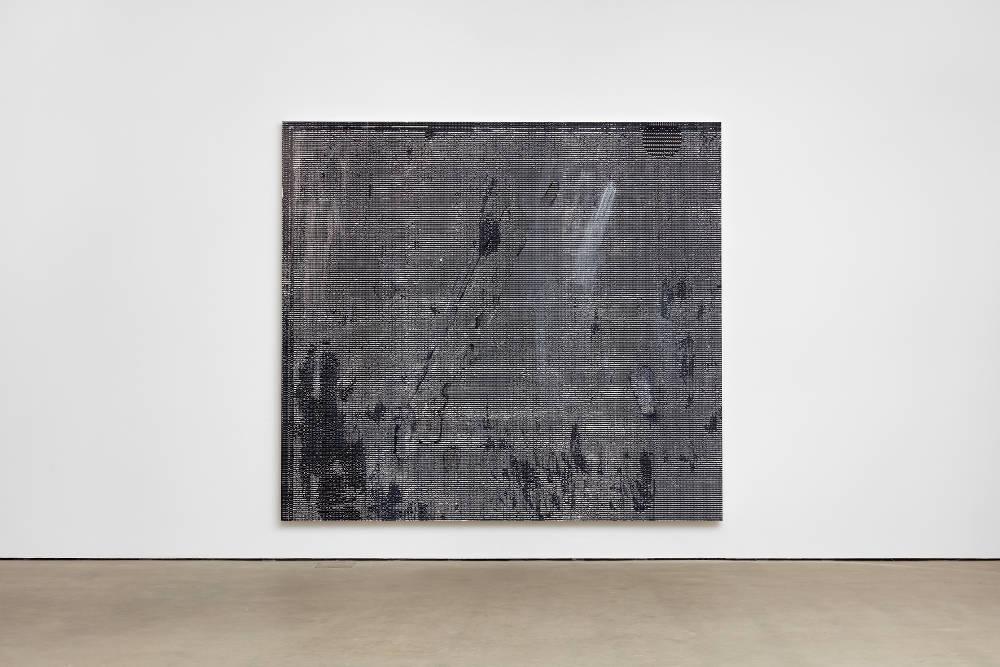 Jacqueline Humphries, c>c\, 2018, oil on linen, 254 x 281.9 cm, 100 x 111 ins. Photo: Robert Glowacki. © Jacqueline Humphries. Courtesy Stuart Shave/Modern Art, London