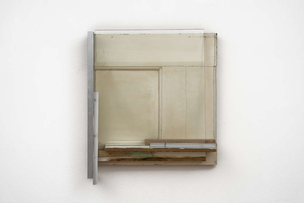 Pedro Cabrita Reis, The Carpenter Suite #11, 2018. found wood, glass, aluminium 55 x 47 x 12 cm
