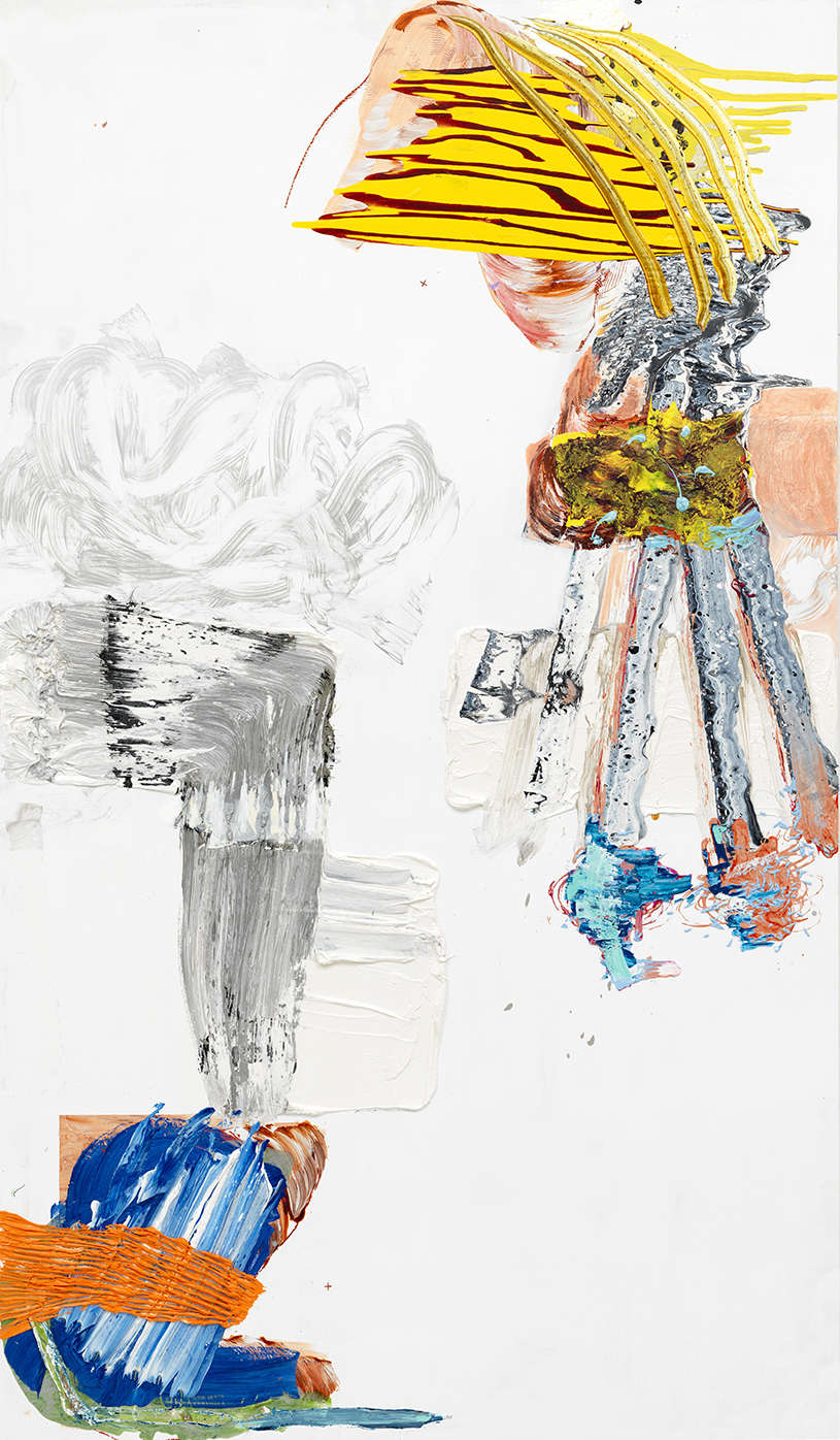 PIA FRIES, ora, 2015. Oil, screenprint on wood 240 x 140 x 5 cm (94 1/2 x 55 1/8 x 2 in.) signed and dated verso