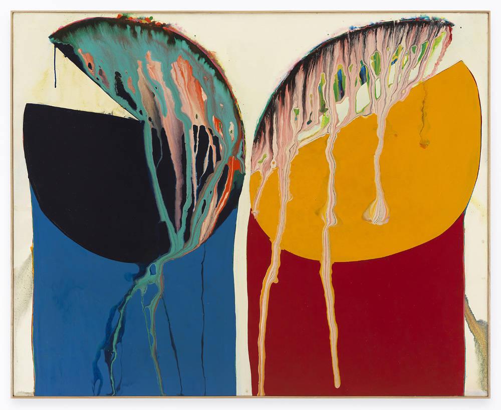 Sadamasa Motonaga, Sakuhin C, 1966. Oil paint and synthetic resin on canvas 51 3/8 x 63 3/4 inches (130.5 x 162 cm)