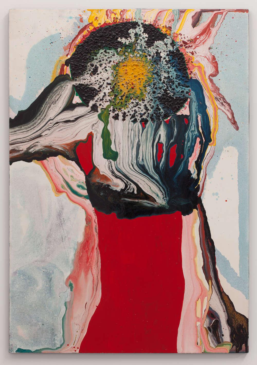 Sadamasa Motonaga, Work, 1963. Oil and gravel on canvas 71 5/8 x 53 1/8 inches (181.9 x 134.9 cm)