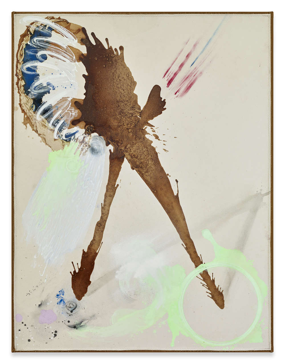 Lucy Dodd, The Blow, 2018. Tobacco, ash, cochineal, azurite, dry pigment, and acrylic paint on canvas 157,5 x 120,7 cm 62 x 47 1/2 inches © Lucy Dodd. Courtesy of Sprüth Magers and David Lewis Gallery, New York. Photography by Stephen White