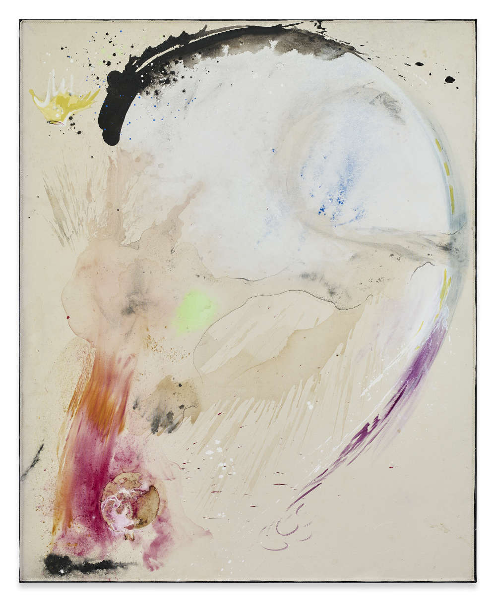Lucy Dodd, The Princess, 2018. Cochineal, earth from Andalusia, squid ink, hematite, charcoal, SCOBY, azurite and acrylic 204,5 x 167,6 cm 80 1/2 x 66 inches © Lucy Dodd. Courtesy of Sprüth Magers and David Lewis Gallery, New York. Photography by Stephen White