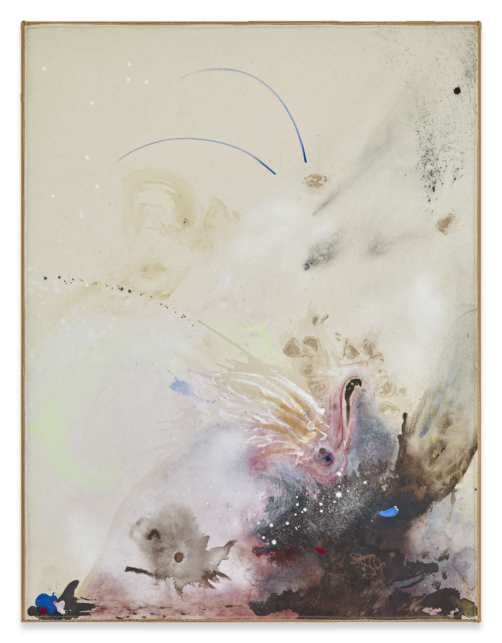 Lucy Dodd, The Snooze at Swan's Noon, 2018. Wild walnut, hematite, Tetley's, cochineal, azurite, squid ink, baby poo, Dragon's Blood, dry pigments, and acrylic on canvas 159,4 x 120 cm 62 3/4 x 47 1/4 inches © Lucy Dodd. Courtesy of Sprüth Magers and David Lewis Gallery, New York. Photography by Stephen White
