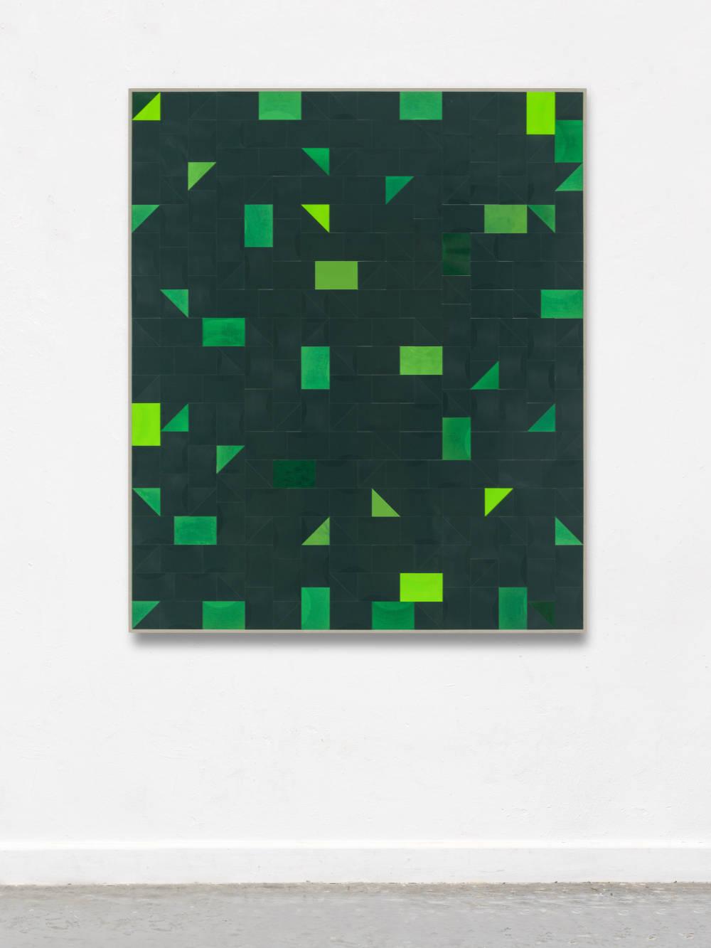 Gregor Hildebrandt, erstes grün, 2018. Cut vinyl records, acrylic, canvas, wood 154 x 130 cm, 60.6 x 11.8 in. Courtesy of the artist and Perrotin.