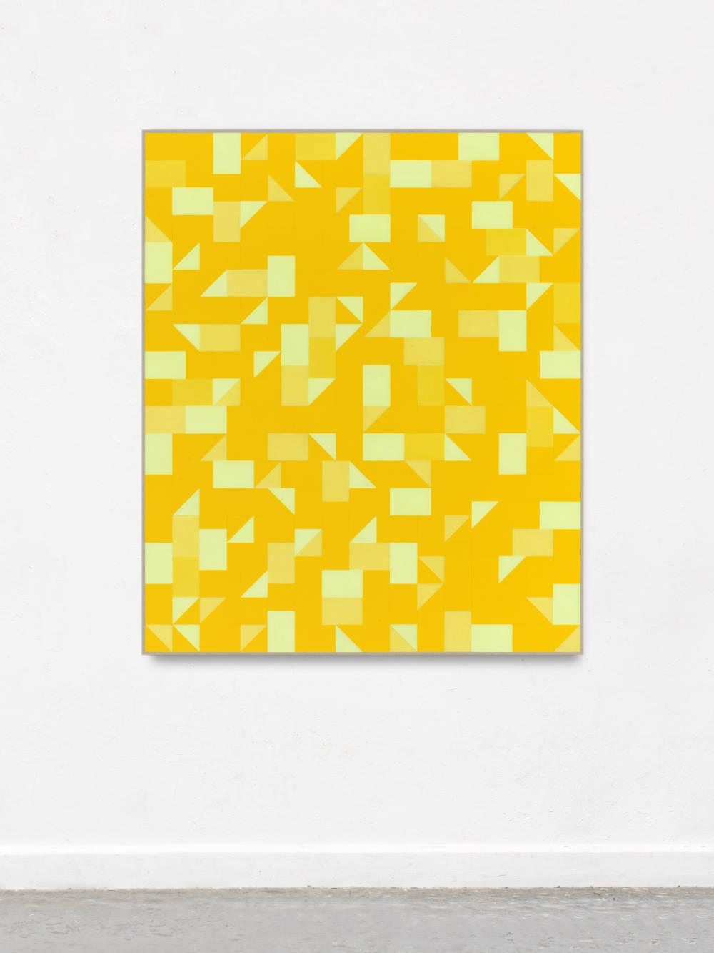 Gregor Hildebrandt, Mit Henkeln aus Nephrit, 2018. Cut vinyl records, acrylic, canvas, wood 154 x 130 cm, 60.6 x 11.8 in. Courtesy of the artist and Perrotin.