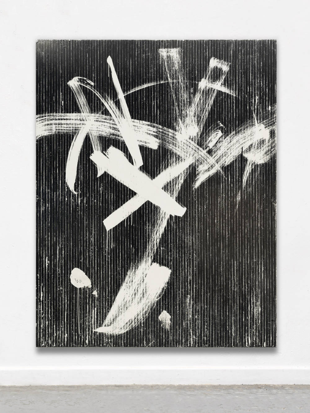Gregor Hildebrandt, weiße Bewegungn (zu PAAR), 2018. Magnetic VHS coating, adhesive tape and acrylic on canvas 229 x 179 cm,  90.3 x 70.5 in. Courtesy of the artist and Perrotin.