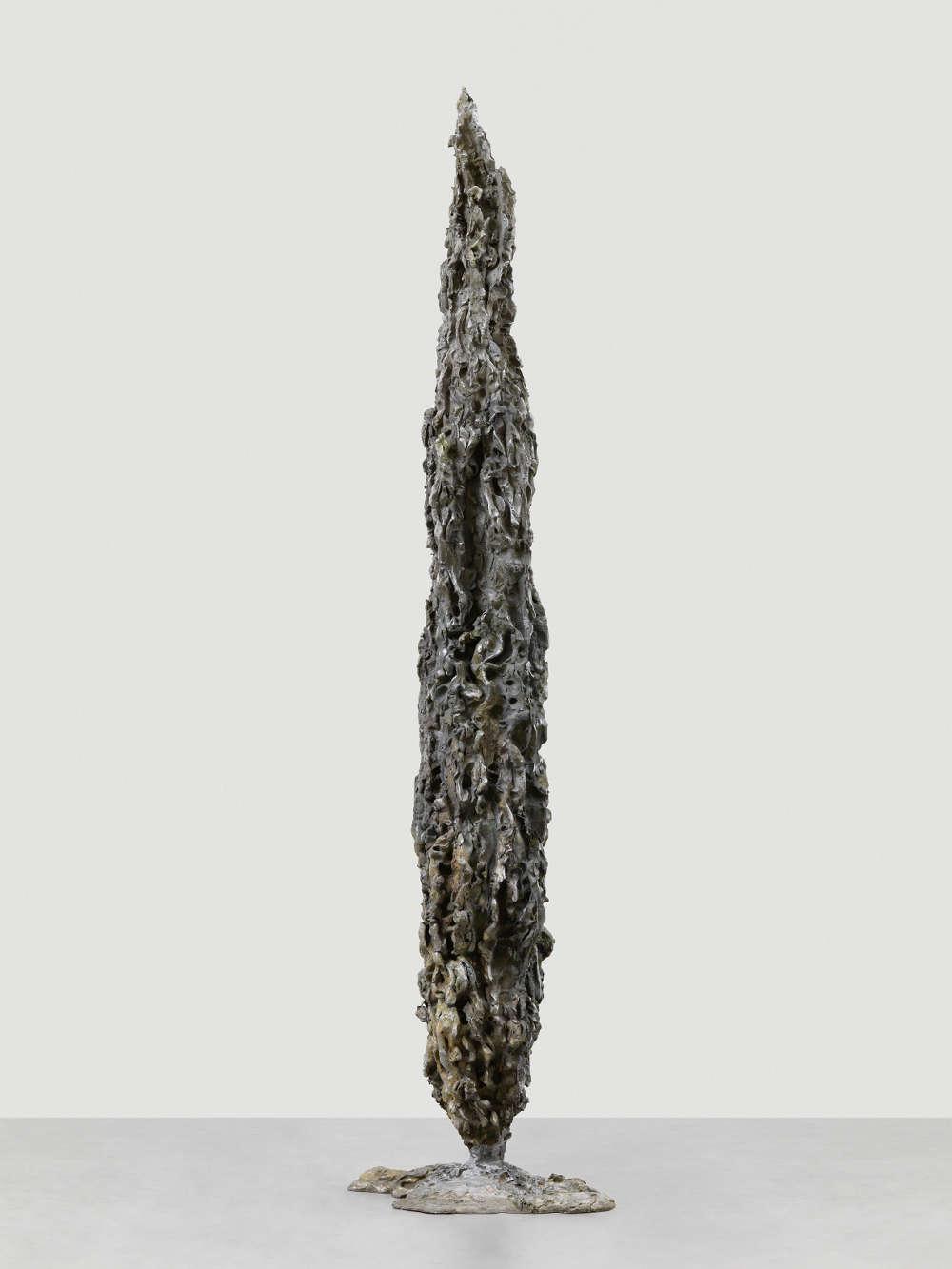 Jean-Marie Appriou, Cypress (Shadow), 2018. Cast aluminum 265 x 74 x 54 cm / 104 3/8 x 29 1/8 x 21 1/4 in © Jean-Marie Appriou. Courtesy the artist and Galerie Eva Presenhuber, Zurich / New York