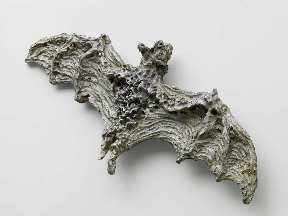 Jean-Marie Appriou, Visual Acuity, 2018. Cast aluminum Circa 20 x 125 x 55 cm / 7 7/8 x 49 1/4 x 21 5/8 in © Jean-Marie Appriou. Courtesy the artist and Galerie Eva Presenhuber, Zurich / New York