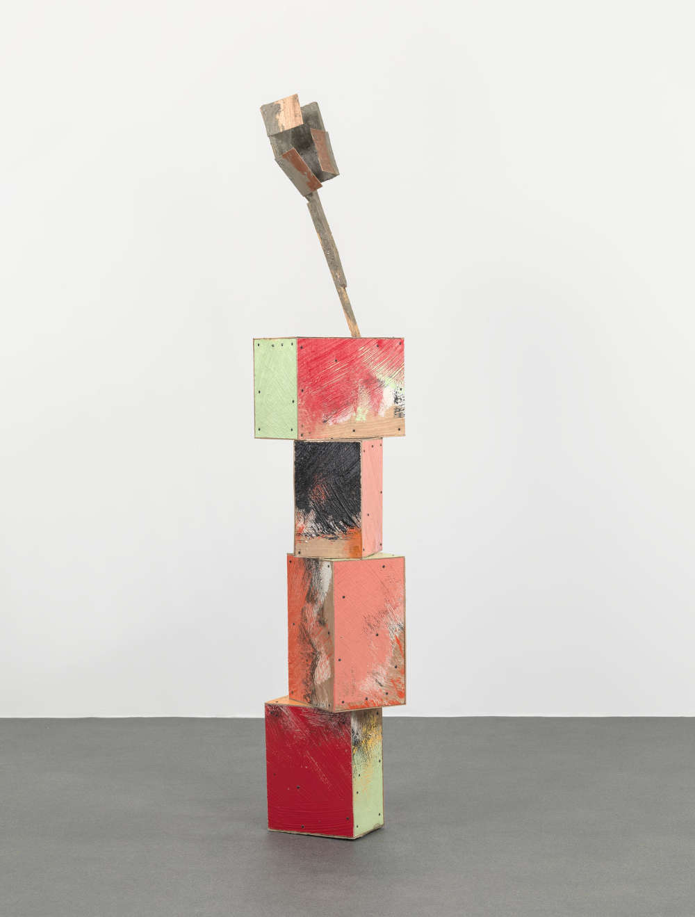 Phyllida Barlow, untitled: folded hoarding, 2018. Concrete, cement, filler, PVA, paint, plywood, sand, spray paint, steel, timber 237 x 47 x 40 cm / 93 1/4 x 18 1/2 x 15 3/4 in. © Phyllida Barlow. Courtesy the artist and Hauser & Wirth. Photo: Alex Delfanne