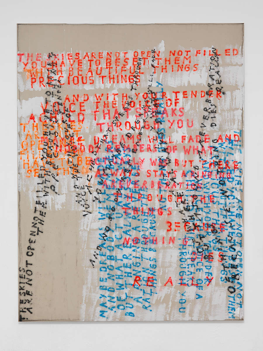 Fabian Herkenhoener, A voice, 2018. Dust, acrylic binder, lacquer, spray paint on canvas 210 × 160 cm (82 5/8 × 63 inches)