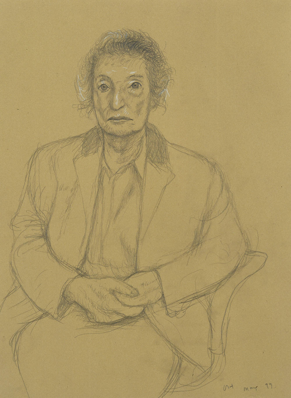 David Hockney, Annely Juda, London, 20th May 1999, 1999. Pencil and white crayon on buff paper 38 x 28 cm © the Artist. Courtesy Annely Juda Fine Art, London
